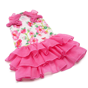 Pink Floral Flounce Dog Dress