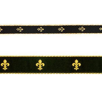 Preston Black Fleur de Lis Dog Ribbon
