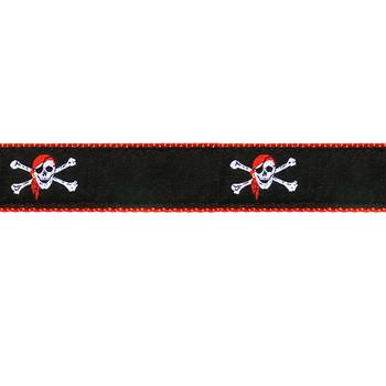 Red Skull Crossbones 3/4 & 1.25 inch Dog Collar & Harness