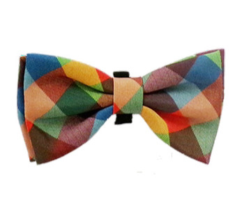 Fall Check Dog Bow Tie