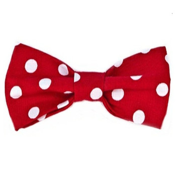 Red / White Polka Dots Dog Bow Tie