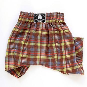 Dog Belly Boxer Shorts - Brown Seersucker