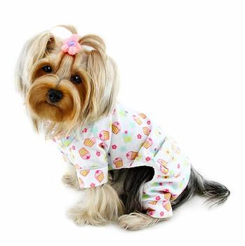 Cupcakes Fanatics Cotton Flannel Dog Pajamas