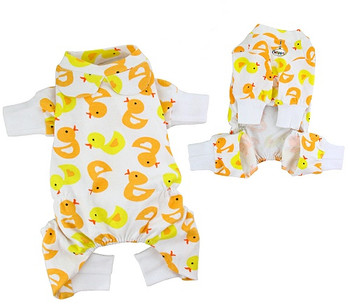 Yellow Ducky Cotton Knit Dog Pajamas