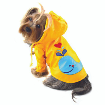 Hooded Splashing Whale Dog Raincoat