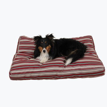 Indoor / Outdoor Striped Jamison Dog Bed - Red