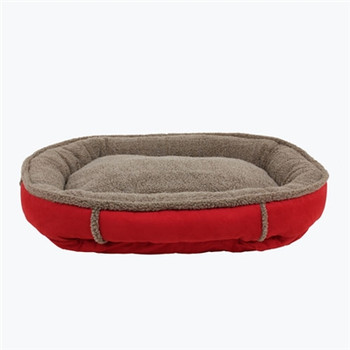Faux Suede & Tipped Berber Round Comfy Cup Dog Bed - Red