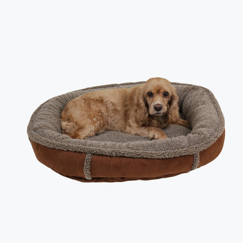 Berber Round Comfy Cup Dog Bed - Chocolate