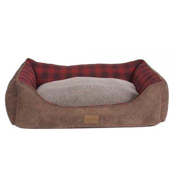 Red Ombre Plaid Kuddler Dog Bed