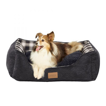 Charcoal Ombre Plaid Kuddler Dog Bed