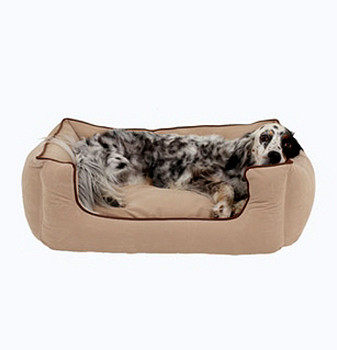 Low Profile Microfiber Kuddler Dog Bed - Linen