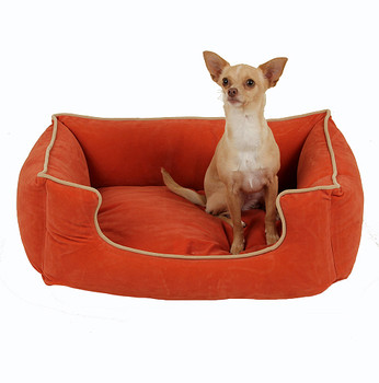 Low Profile Microfiber Kuddler Dog Bed - Apricot