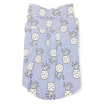 Pineapple Tropical Blue Dog Camp Shirt