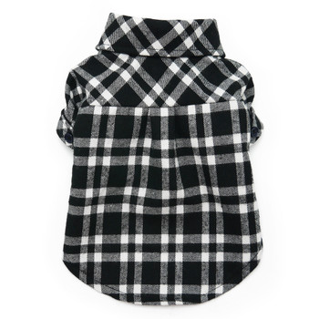 Black Plaid Flannel Button Down Dog Shirt