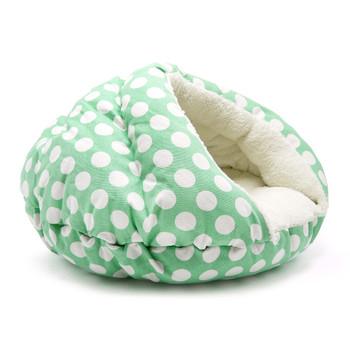 Burger Burrowing Pet Dog Bed - Polka Dot Green