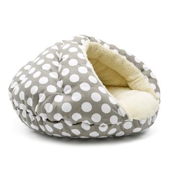 Burger Burrowing Pet Dog Bed - Polka Dot Gray