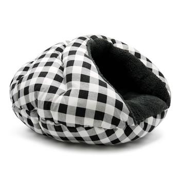 Burger Burrowing Pet Dog Bed - Checkers Black