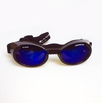 Shiny Black ILS2 with Mirror Blue Lens Dog Sunglasses