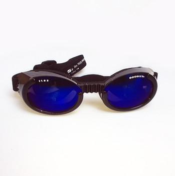 Shiny Black ILS2 with Mirror Blue Lens Dog Sunglasses