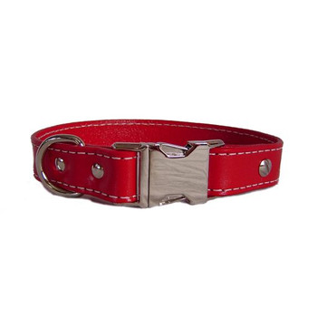 Red Seneca Leather Collar - Engravable