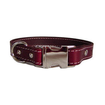 Burgundy Seneca Leather Collar - Engravable