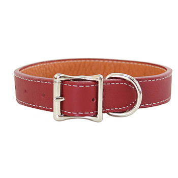 Tuscan Leather Dog Collar & Leash - Red