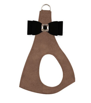 Black Big Bow on Fawn Step In Dog Harness
