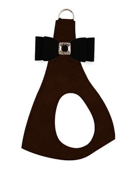 Black Big Bow on Chocolate Step In Dog Harness