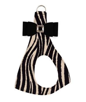 Black Big Bow on Zebra Step In Dog Harness