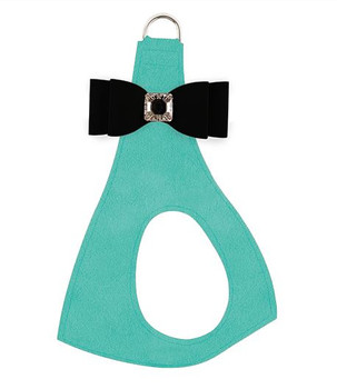 Black Big Bow on Tiffi Blue Step In Dog Harness