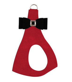 Black Big Bow on Red Step In Dog Harness