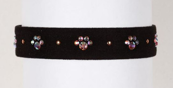 "Black Wide 5/8"" Crystal Paws Dog Collar"