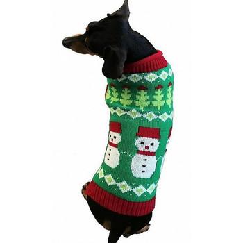 Fair Isle Snowmen Dog Sweater