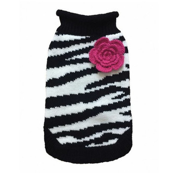 Zebra Fleur Rose Dog Sweater
