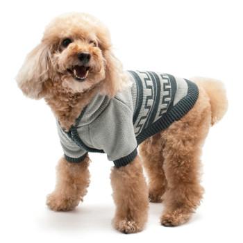 Hoodie Pattern Gray Cardigan Dog Sweater