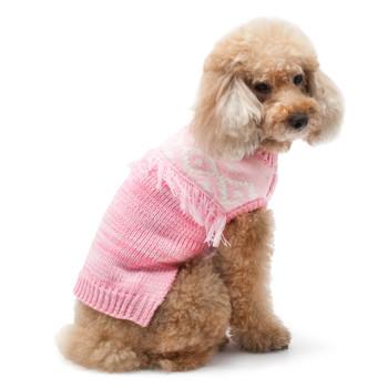 Boho Fringe Pink Dog Sweater