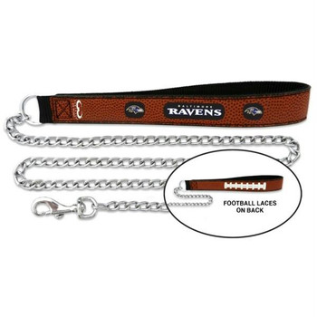 Baltimore Ravens Football Leather and Chain Leash