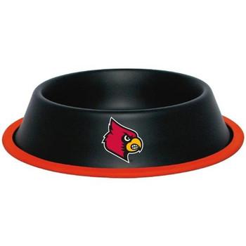 Louisville Cardinals Gloss Black Pet Bowl