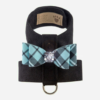 Scotty Tinkie Dog Harness Big Bow Tiffi Blue Plaid