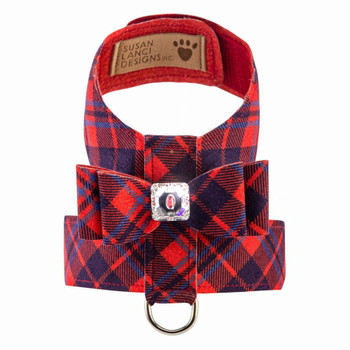 Scotty Tinkie Dog Harness Big Bow Red Chestnut Plaid