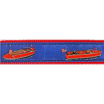 Dog Collar - Wooden Boats -  3/4 & 1 1/4