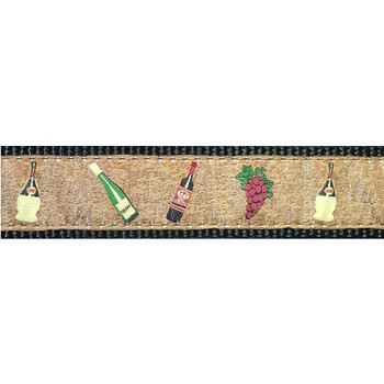Dog Collar - Wine and Grapes on Cork -  3/4 & 1 1/4