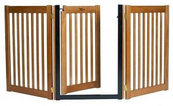 Walk Through 3 Panel Free Standing Pet Gate - Mahogany