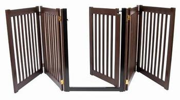 Walk Through 5 Panel Free Standing Pet Gate - Mahogany