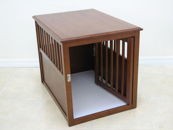 Wooden Dog Crate Table / Nightstand - Medium/Mahogany
