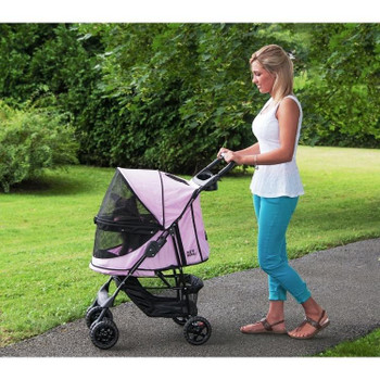 Happy Trails No-Zip Pet Stroller - Pink Diamond