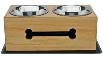 Wooden Bone Elevated Dog Bowls - Large