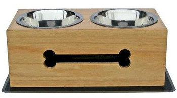 Wooden Bone Elevated Dog Bowls - Medium