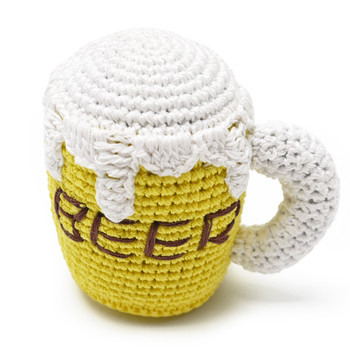 Fun crocheted Beer Mug squeaky dog toy.