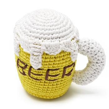 Fun crocheted Beer Mug squeaky dog toy.